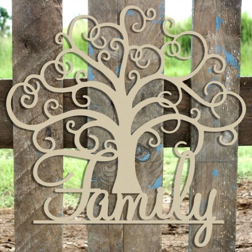 """21"""" Family Tree Unfinished Cutout, Wooden Shape, MDF DIY"""