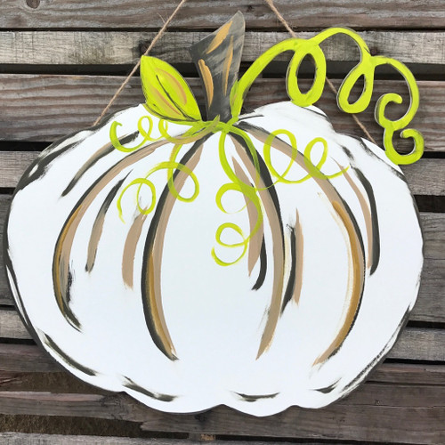 Green and White Pumpkin Door Hanger Finished Wood Craft