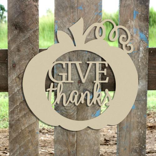 Give Thanks Framed Curly Stem Pumpkin Wooden (MDF) Cutout - Unfinished  DIY Craft