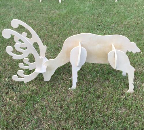 Reindeer Yard Art (Feeding Reindeer Buck) 1/2'' Birch Christmas Decor