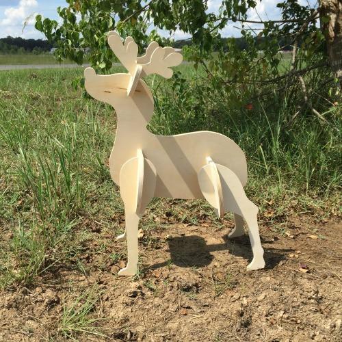 Reindeer Yard Art (Baby Rudolf) 1/2'' Birch Christmas Decor