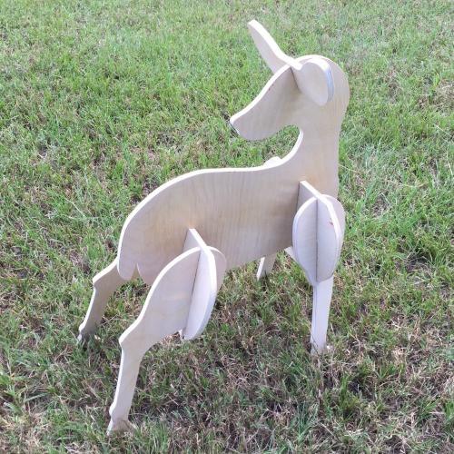 Reindeer Yard Art (Baby Doe) 1/2'' Birch Christmas Decor