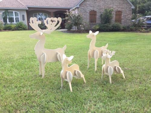 Reindeer Yard Art (4 deer, Dad, Mom, little buck, little doe) 1/2'' Birch Christmas Decor