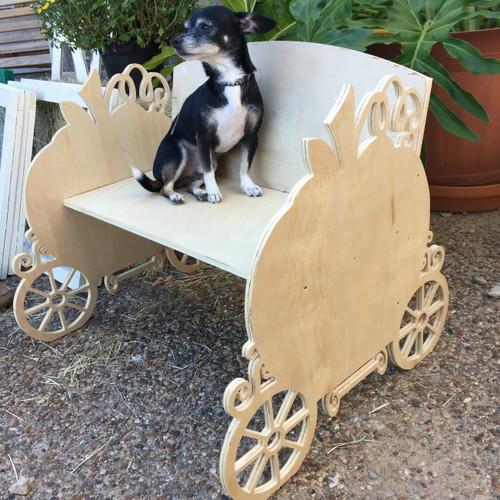 Children's Bench (Pumpkin Carriage), Unfinished Paintable Birch Wood