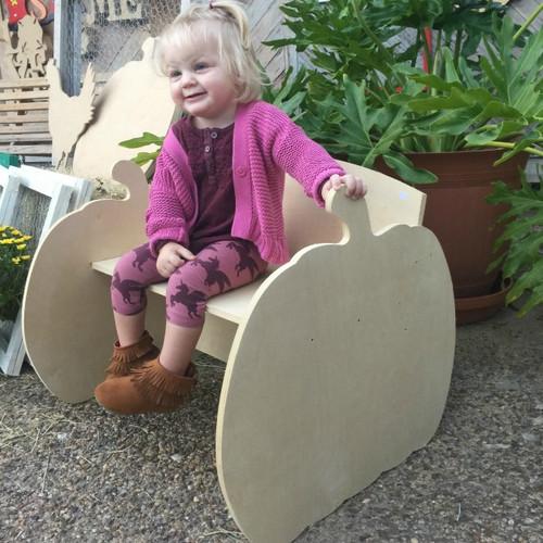 Children's Bench (Pumpkin), Unfinished Paintable Birch Wood