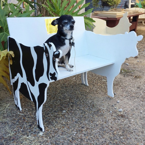 Children's Bench (Cow), Unfinished Paintable Birch Wood