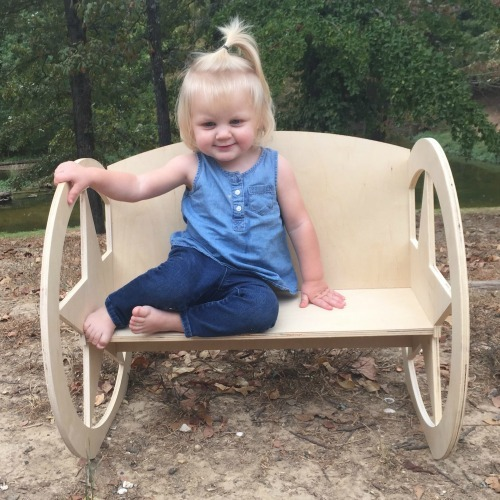 Children's Bench (Texas Star), Unfinished Paintable Birch Wood