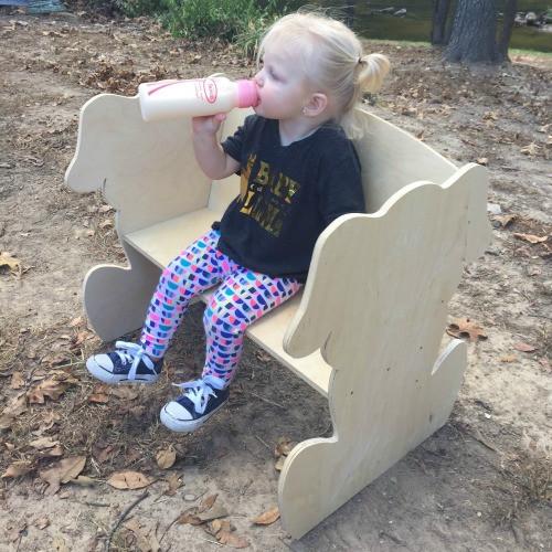 Children's Bench (Puppy Dog), Unfinished Paintable Birch Wood