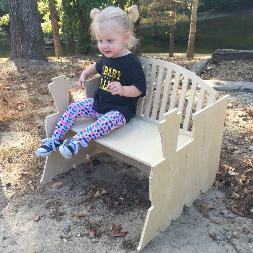 Children's Bench (Train), Unfinished Paintable Birch Wood