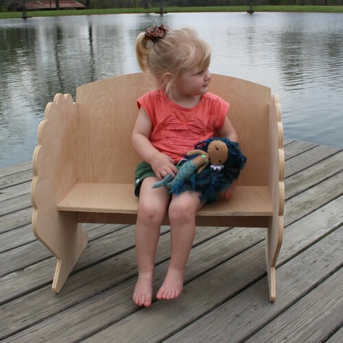 Children's Bench (Seashell), Unfinished Paintable Birch Wood