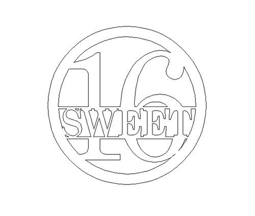 Circle Sweet 16 Name Frame, Unfinished Framed Monogram