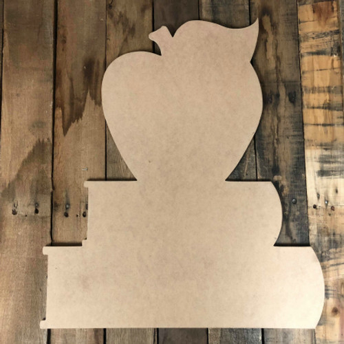 Apple on Books Unfinished Cutout, Wooden Shape MDF Cutout