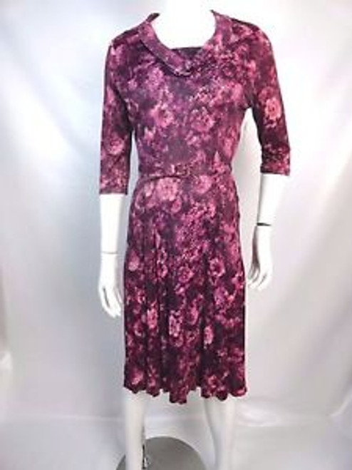 """Vintage 40's """"Classic Lady"""" Purple Abstract Floral Dress SOLD"""
