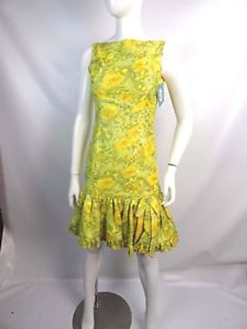 """Vintage 60's """"Mam'Selle by Betty Carol"""" Yellow/Green Floral Dress"""