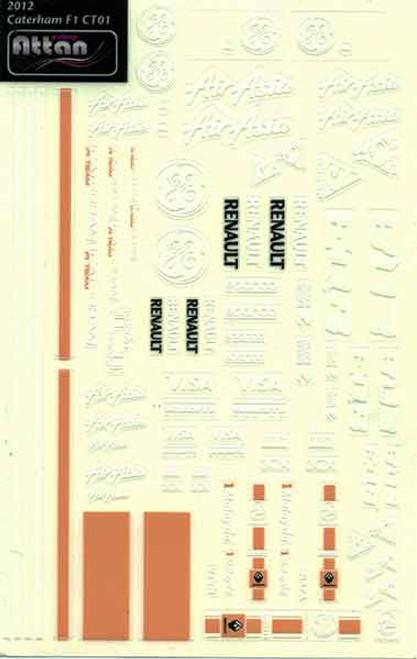 Attan Caterham F1 Sticker Sheet - ATT-CF1