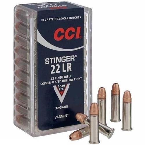 CCI Stinger .22LR 32 GR Copper-Plated HP Ammo #0050 - 076683000507