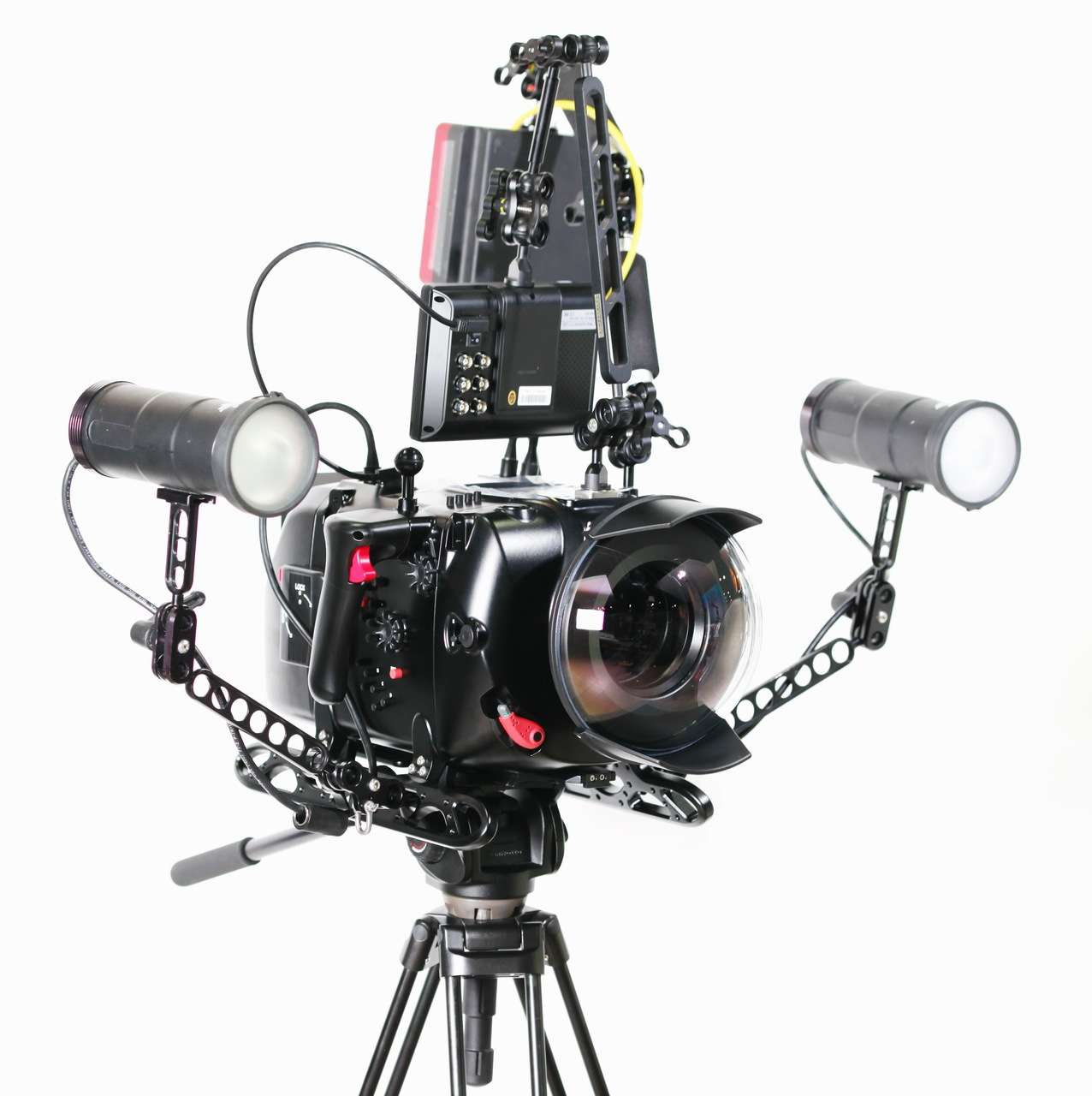 16131 Digital Cinema System for Red Epic-X /Scarlet-X with N200 port mount package inc. N200 250mm optical glass wide angle port, N200 extension rings 30, 40 and 50, and Lens control drive shafts