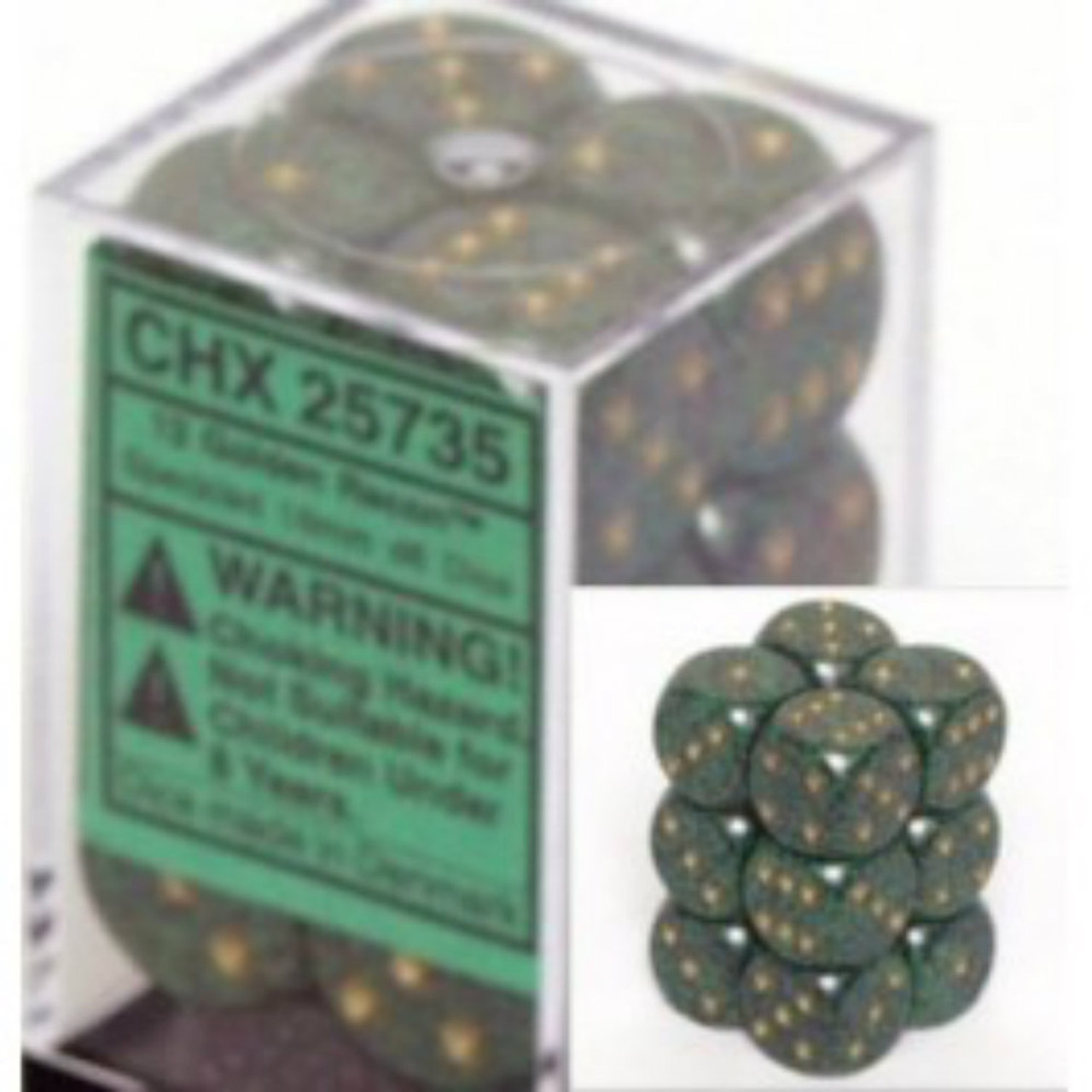 Chessex Speckled Golden Recon Set of 12 d6 16mm Dice (CHX25735)