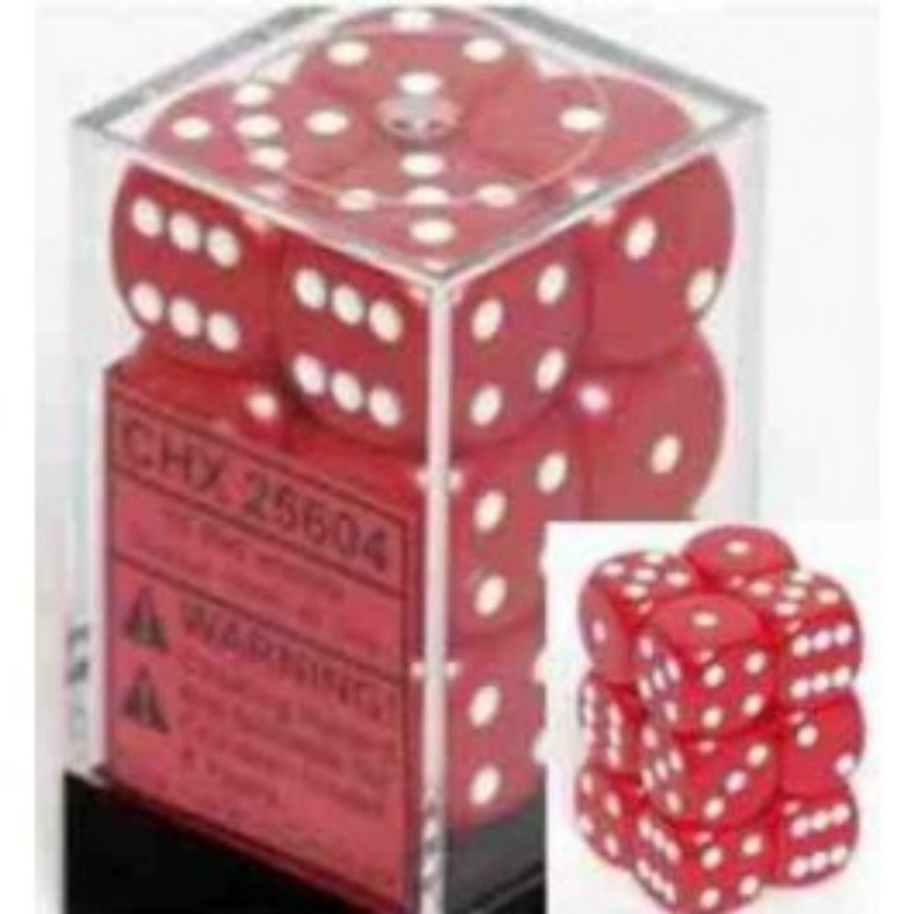 Chessex Opaque Red w/White Set of 12 d6  16mm Dice (CHX25604)