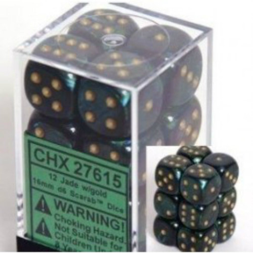 Chessex: Scarab - Jade w/Gold D6 Dice Block CHX27615