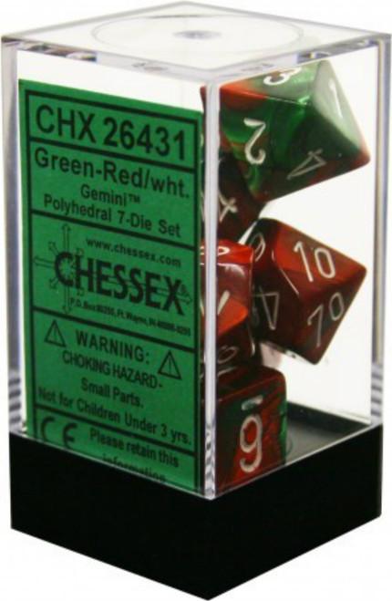 Chessex Gemini Green-Red w/White Set of 7 Dice (CHX26431)