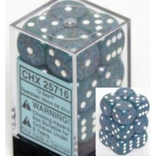 Chessex Speckled Sea Blue w/White Set of 12 d6 16mm Dice (CHX25716)