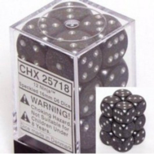 Chessex Speckled Ninja Set of 12 d6 16mm Dice (CHX25718)
