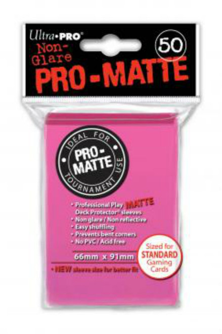 Ultra Pro: Pro-Matte Standard Deck Protectors - Bright Pink (50 ct)