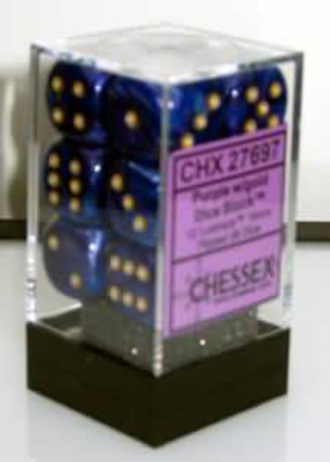 Chessex Lustrous Purple w/Gold Set of 12 d6 16mm Dice (CHX27697)