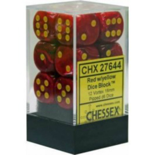 Chessex Vortex Red w/Yellow Set of 12 d6 16mm Dice (CHX27644)