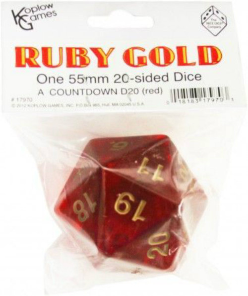 Koplow Games: Jumbo 55mm d20 Die (Ruby w/Gold)