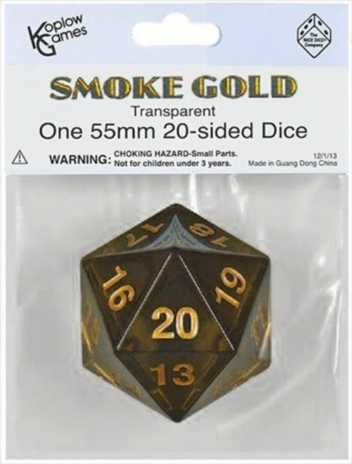 Koplow Games: Jumbo 55mm Transparent D20 Die (Smoke/Gold)