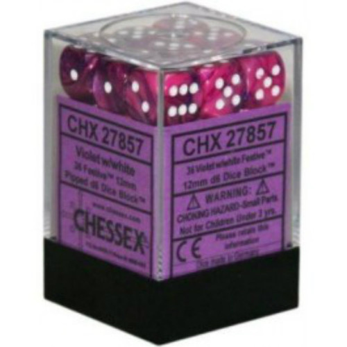 Chessex Dice d6 Sets: Festive Violet with White - 12mm Six Sided Die (36) Block of Dice