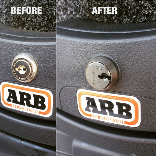 Before and after the Medeco Lock Set for ARB Drawers (MLS-1)