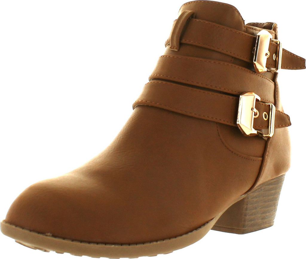 Women's Buckle and Strap Mid Heel Ankle Boots