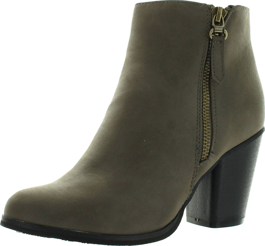 NEW WOMEN FASHION COMFY STACKED CHUNKY HEEL SIDE ZIPPER ANKLE BOOTIE /BLACK BABA-04