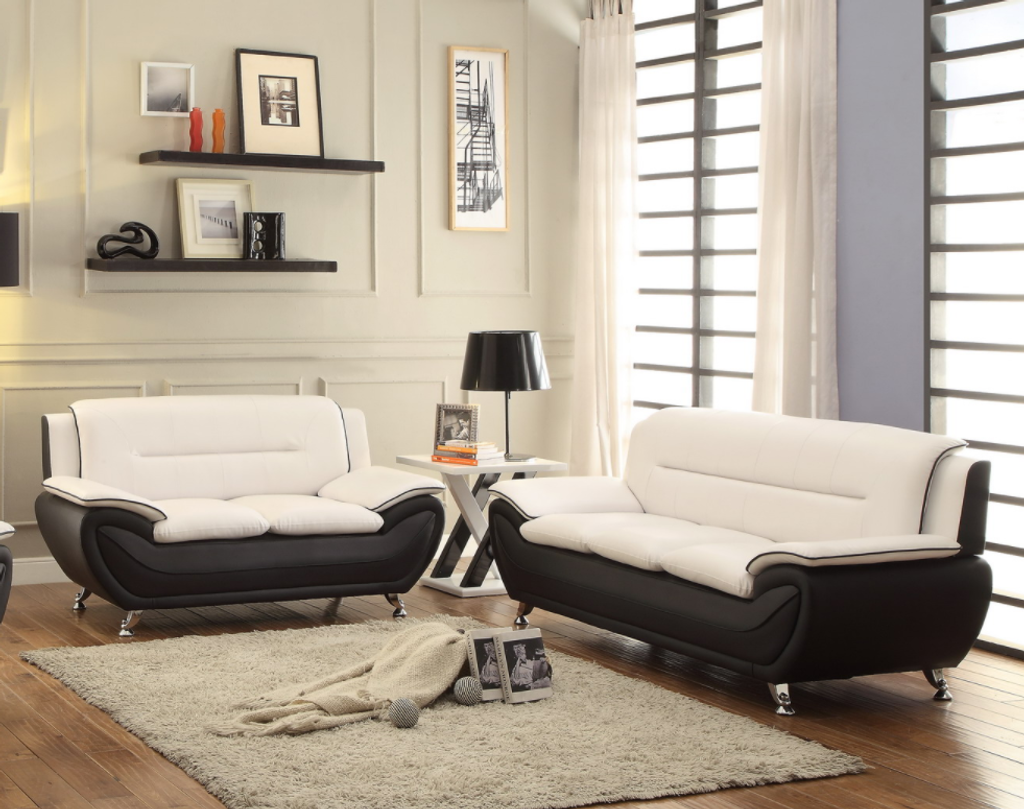 GIAN - BLACK AND WHITE 2 PCS Living Room Set SOFA & LOVESEAT