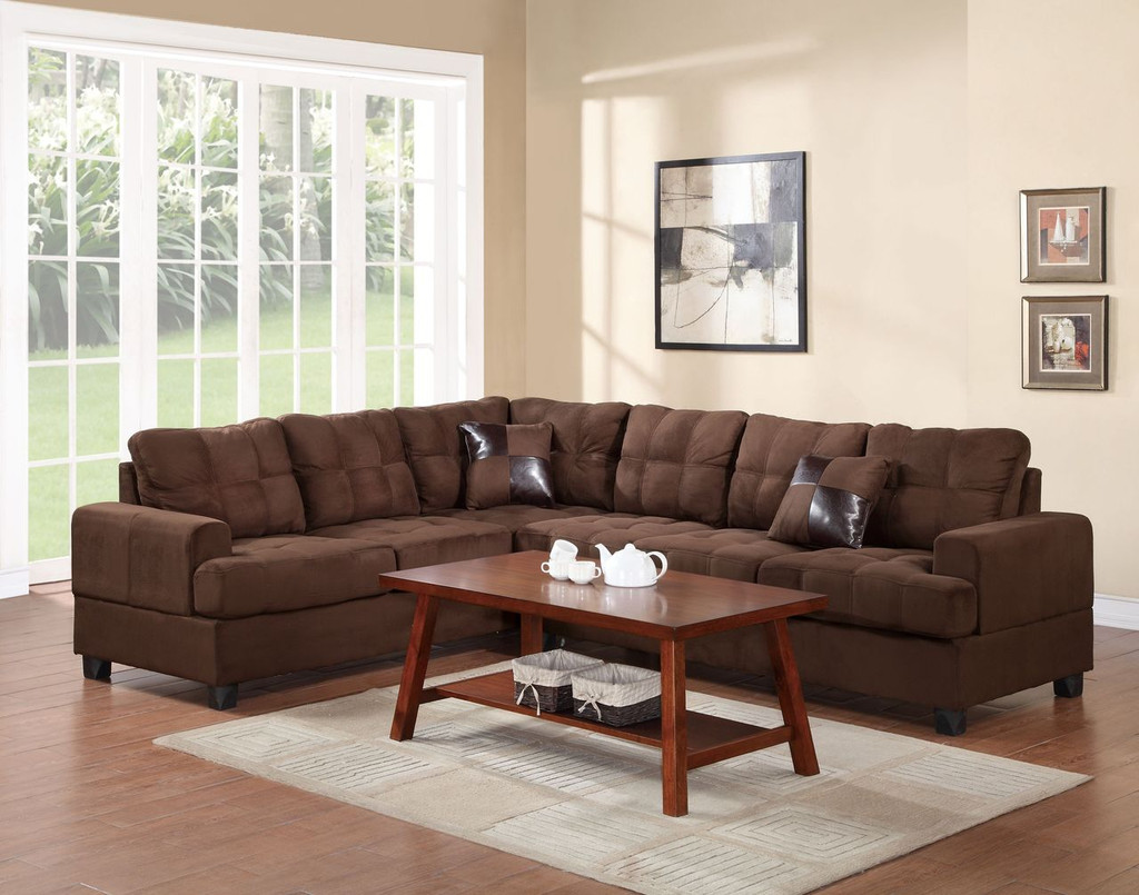 2-PCS SECTIONAL SET W2 ACCENT PILLOWS-CHOCO