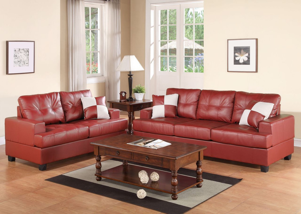 2-PCS SOFA SET W/3 ACCENT PILLOWS-BURGUNDY