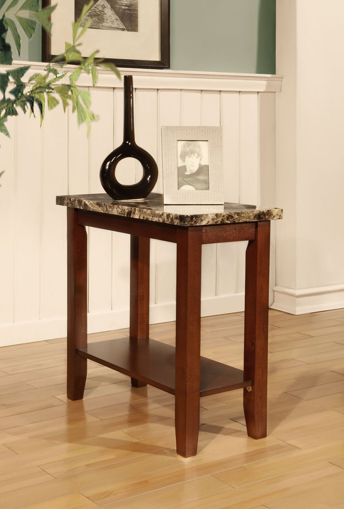 CHAIRSIDE TABLE - FAUX MARBLE  CHERRY