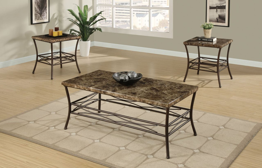 3-PCS COFEE TABLE SET IN FUAX MARBLE  BRONZE