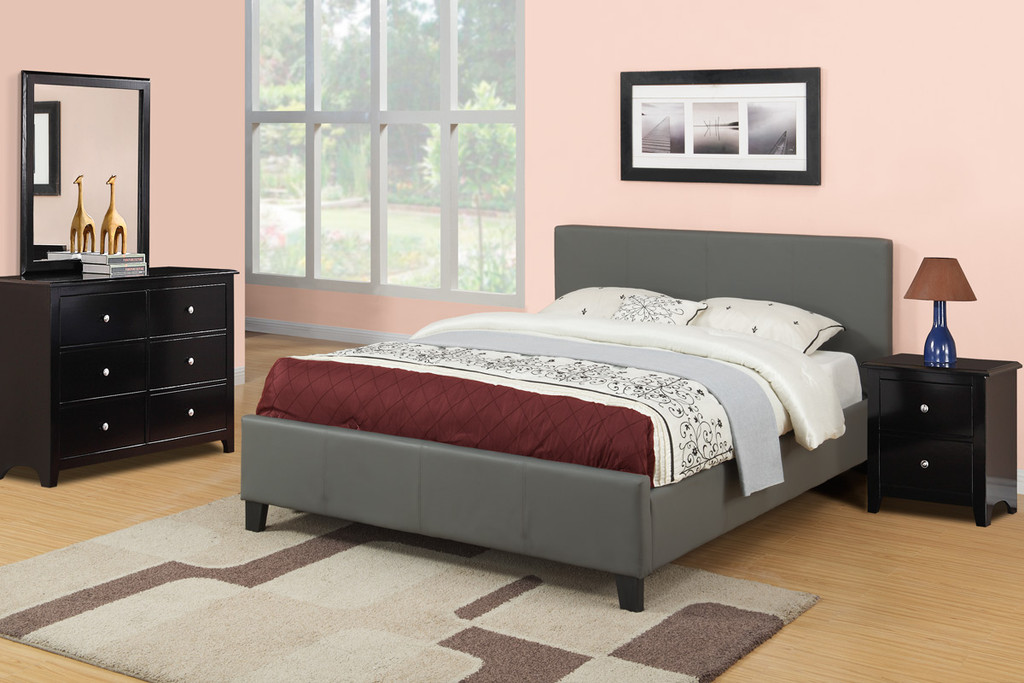 Gray Leather Upholstered Platform Bed (No Boxspring Required)