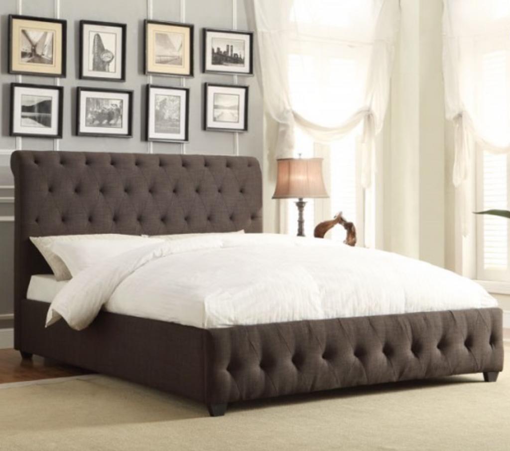 BALDWYN  CHARCOAL TUFTED BED FRAME