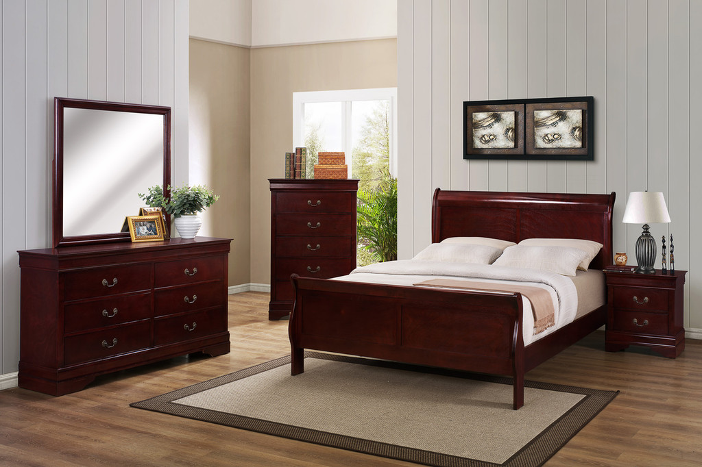 Louis Phillip 7Pcs Bedroom Suite - Cherry