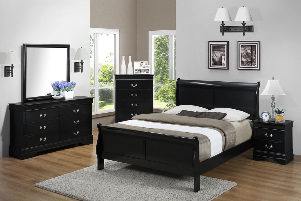 Louis Phillip 7Pcs Bedroom Suite - Black