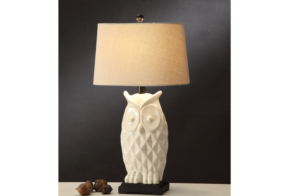 """IVORY COLOR OWL SHAPED BASED LAMP 29"""" H (2 LAMPS)"""