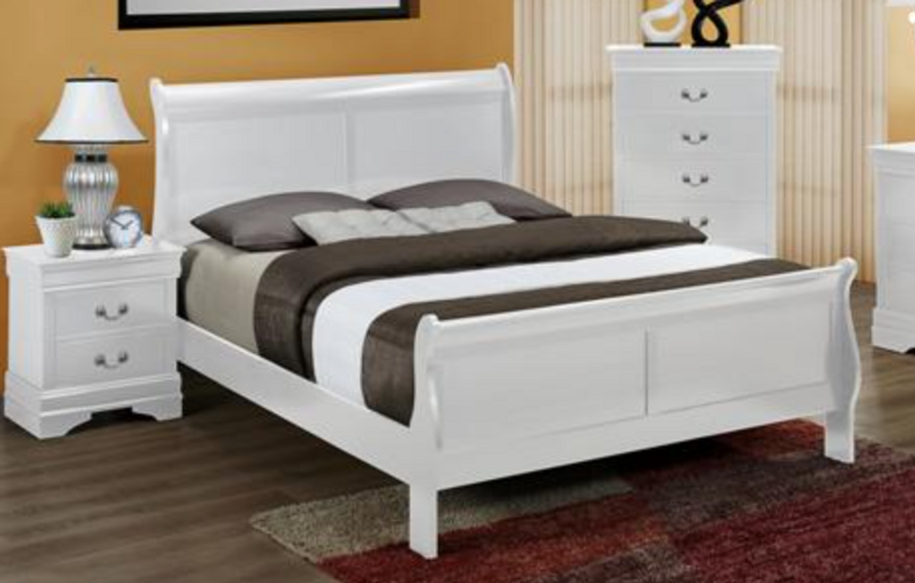 WHITE SLEIGH BED FRAME MATTRESS AND BOXSPRING