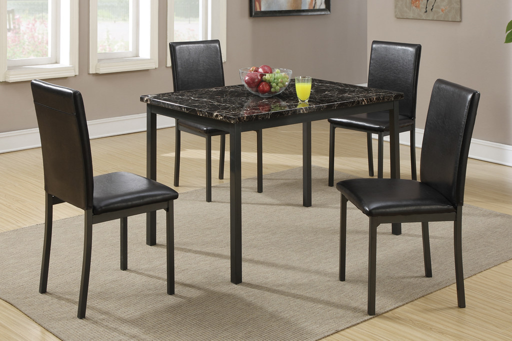5PCS MARBLE FINISHED BLACK METAL FRAME DINING SET