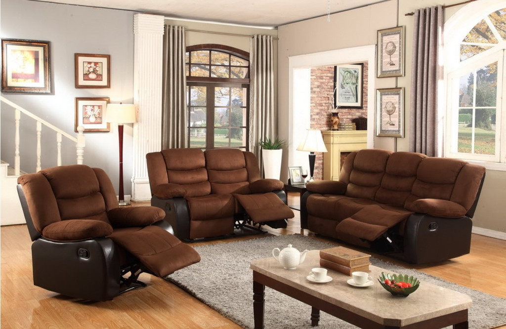2PCS  DARK TAN MICROFIBER AND LEATHER RECLINER SET INCLUDES SOFA AND LOVESEAT