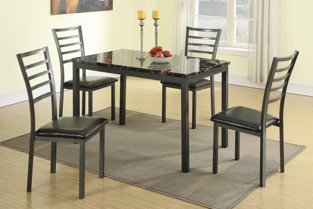 5-PCS BLACK METAL MARBLE TOP DINING SET